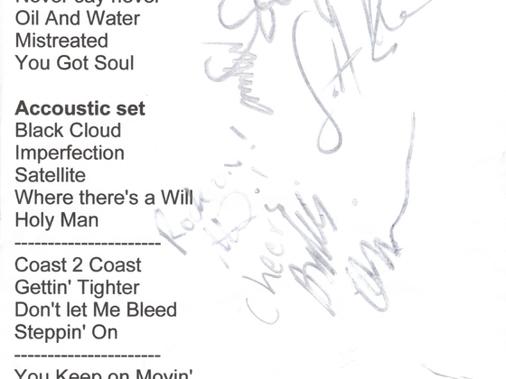 set list from Mike Moore Bash,2008