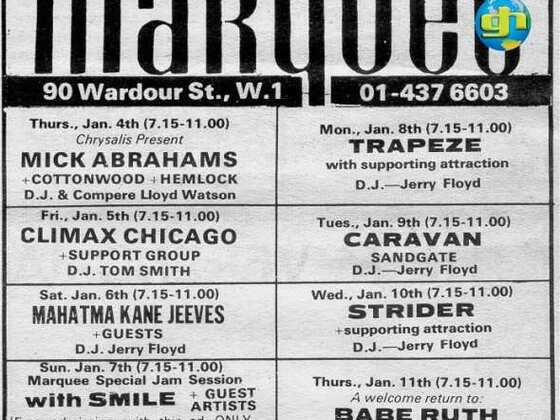 Marquee Club gig ad