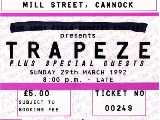 Ticket for Andy Field Benefit show. 29th March 1992