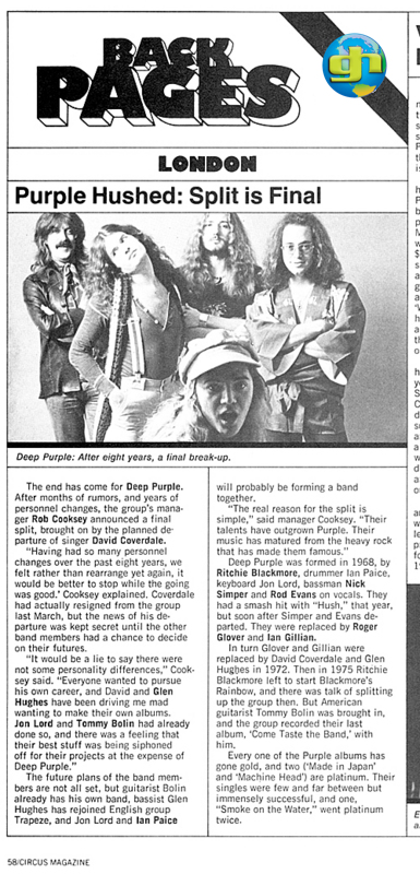 Deep Purple split up