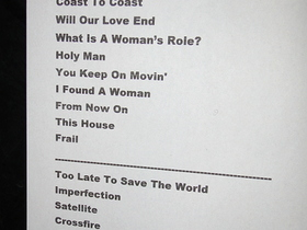 2011-11-14 Acoustic Show in London - Setlist