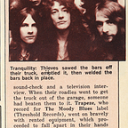 Theft of Trapeze's equipment March 1973