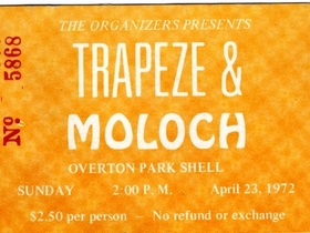 Ticket for Overton Park Shell. 23rd April 1972